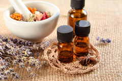 Alternative therapy with essential oils Stock Images