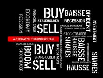 ALTERNATIVE TRADING SYSTEM - image with words associated with the topic STOCK EXCHANGE, word cloud, cube, letter, image, illustrat Royalty Free Stock Image