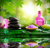 Alternative treatments of natural essences for body care square Stock Photo