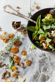Alternative vegan salad with rocket, carrots chips, walnuts and seeds Stock Photography