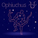 Alternative Zodiac sign Ophiuchus. Alternative thirteenth Zodiac sign Ophiuchus on the starry sky, hand drawn vector illustration with stylized stars over blue Stock Photography