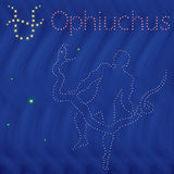 Alternative Zodiac sign Ophiuchus contour on the starry sky. Alternative thirteenth Zodiac sign Ophiuchus contour with tiny stars on the background of blue wavy Stock Images