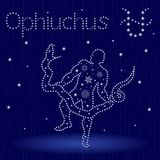 Alternative Zodiac sign Ophiuchus with snowflakes. Alternative thirteenth Zodiac sign Ophiuchus on a blue starry sky, hand drawn vector illustration in winter Stock Images