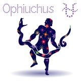 Alternative Zodiac sign Ophiuchus stencil. Alternative thirteenth Zodiac sign Ophiuchus, hand drawn vector stencil with stylized stars isolated on the white Stock Photo