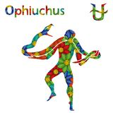 Alternative Zodiac sign Ophiuchus with stylized flowers. Alternative thirteenth Zodiac sign Ophiuchus with filling of colorful stylized flowers on a white Stock Photography