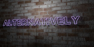ALTERNATIVELY - Glowing Neon Sign on stonework wall - 3D rendered royalty free stock illustration Royalty Free Stock Image