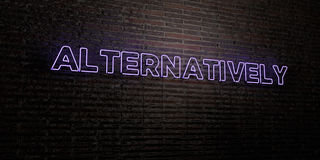 ALTERNATIVELY -Realistic Neon Sign on Brick Wall background - 3D rendered royalty free stock image Royalty Free Stock Photos
