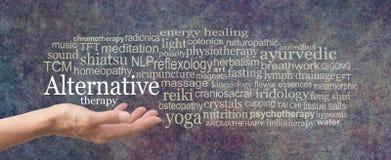 Alternatives Therapie-Wort-Tag-Cloud stockfoto