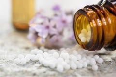 Alternativmedizin mit den Kräuter- und homöopathischen Pillen Lizenzfreies Stockfoto