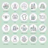 Alternativmedizinlinie Ikonen Naturopathy, traditionelle Behandlung, Homöopathie, Osteopathy, Kräuterfische und Blutegel lizenzfreie abbildung