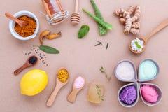 Alternativt hudomsorg och hemlagat skurar med naturligt ingredien royaltyfri fotografi