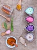 Alternativt hudomsorg och hemlagat skurar med naturligt ingredien royaltyfri bild