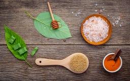 Alternativt hudomsorg och hemlagat skurar med naturligt ingredien royaltyfria foton