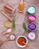 Alternativt hudomsorg och hemlagat skurar med naturligt ingredien royaltyfri foto