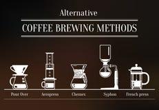 Alternativt kaffe som bryggar metoder Vektor Illustrationer