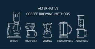 Alternativt kaffe som bryggar metoder Ställ in den vita linjen symboler för vektorn Häverten häller över, chemex, fransk press, a royaltyfri illustrationer