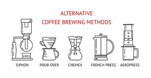 Alternativt kaffe som bryggar metoder Ställ in vektorsvartlinjen symboler Häverten häller över, chemex, fransk press, aeropress P stock illustrationer