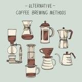 Alternativt kaffe som bryggar metoduppsättningen av beståndsdelvektorn, skissar illustrationen royaltyfri illustrationer