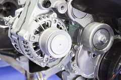 An alternator in engine. To generate electric royalty free stock photography