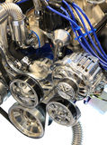 Alternator, Pulleys and Belt on Chrome Engine Stock Photo