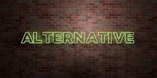 ALTERNATYWA - fluorescencyjny Neonowej tubki znak na brickwork - Frontowy widok - 3D odpłacający się królewskość bezpłatny akcyjn ilustracji