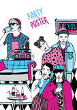 Alternatywa partyjny plakat Plakat z tanem, pije młodzi ludzie, muzyka ręka rysująca kolorowa ilustracja ilustracja wektor