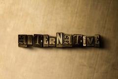 ALTERNATYWA - zakończenie grungy rocznik typeset słowo na metalu tle ilustracja wektor