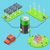 Alternatywa zielony energetyczny płaski isometric wektor ilustracji