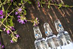 alternatywna wanny bambusa biloba rzeczy ginkgo leków, tray w spa Tymiankowe i medyczne ampułki olejki eteryczne Obraz Royalty Free