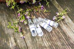 alternatywna wanny bambusa biloba rzeczy ginkgo leków, tray w spa Tymiankowe i medyczne ampułki olejki eteryczne Zdjęcia Royalty Free