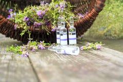 alternatywna wanny bambusa biloba rzeczy ginkgo leków, tray w spa Tymiankowe i medyczne ampułki olejki eteryczne Fotografia Stock