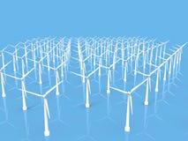 alternatywne źródła energii, turbiny farmy wiatr ilustracja wektor