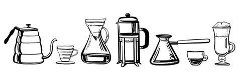 Alternatywne kawowe browarniane metody Ręka rysujący konturu nakreślenia wektoru set royalty ilustracja