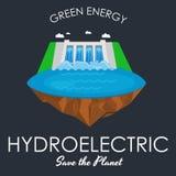 Alternatywnej energii energetyka, hydroelektrycznej elektrowni fabryczna elektryczność na wodnym ekologii pojęciu, technologia royalty ilustracja