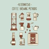 Alternatywny kawowy browarniany metody ilustraci set Kolekcja wektorowi percolators royalty ilustracja