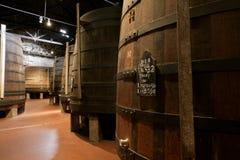 Alternder Portwein im Keller Lizenzfreie Stockfotos