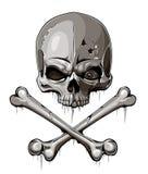 Altersschwacher Schädel mit zwei gekreuzten Knochen Stockfoto
