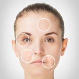 Alterungsprozess, Verfahren der Verjüngungsantialtern-Haut Stockbild