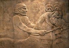 Altes ägyptisches Steinschnitzen Stockfotos