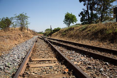 Altes überwuchertes verwendetes Eisenbahnlinieschnittmischen Stockfoto