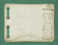 Altes Album mit Skizzen eines Kleides Stockbilder