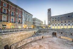 Altes Amphitheater in Lecce, Italien stockfotografie