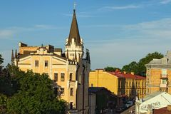 Altes Andrew-Abfall Andriyivsky-uzviz, Podil-Nachbarschaft stockbild