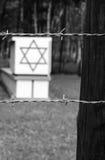 Altes angeredetes Foto von jüdischen Symbolen in Stutthof Lizenzfreies Stockbild