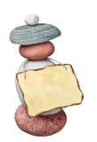 Altes Anmerkungspapier auf den Steinen Lizenzfreies Stockbild