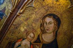 Altes antikes mittelalterliches Renaissanceölgemälde von Jungfrau- Mariaesprit Stockfotos