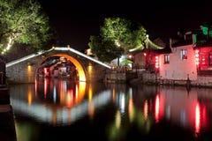 Altes Architektur Chinas nightscape Lizenzfreie Stockfotografie