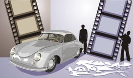 Altes Auto der grauen Farbe lizenzfreie abbildung