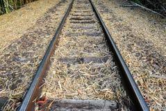 Altes Bahngleis gemacht vom Stahl, vom Holz und von den Steinen Lizenzfreie Stockfotografie