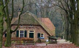Altes Bauernhaus auf der holländischen Landschaft Stockfotografie